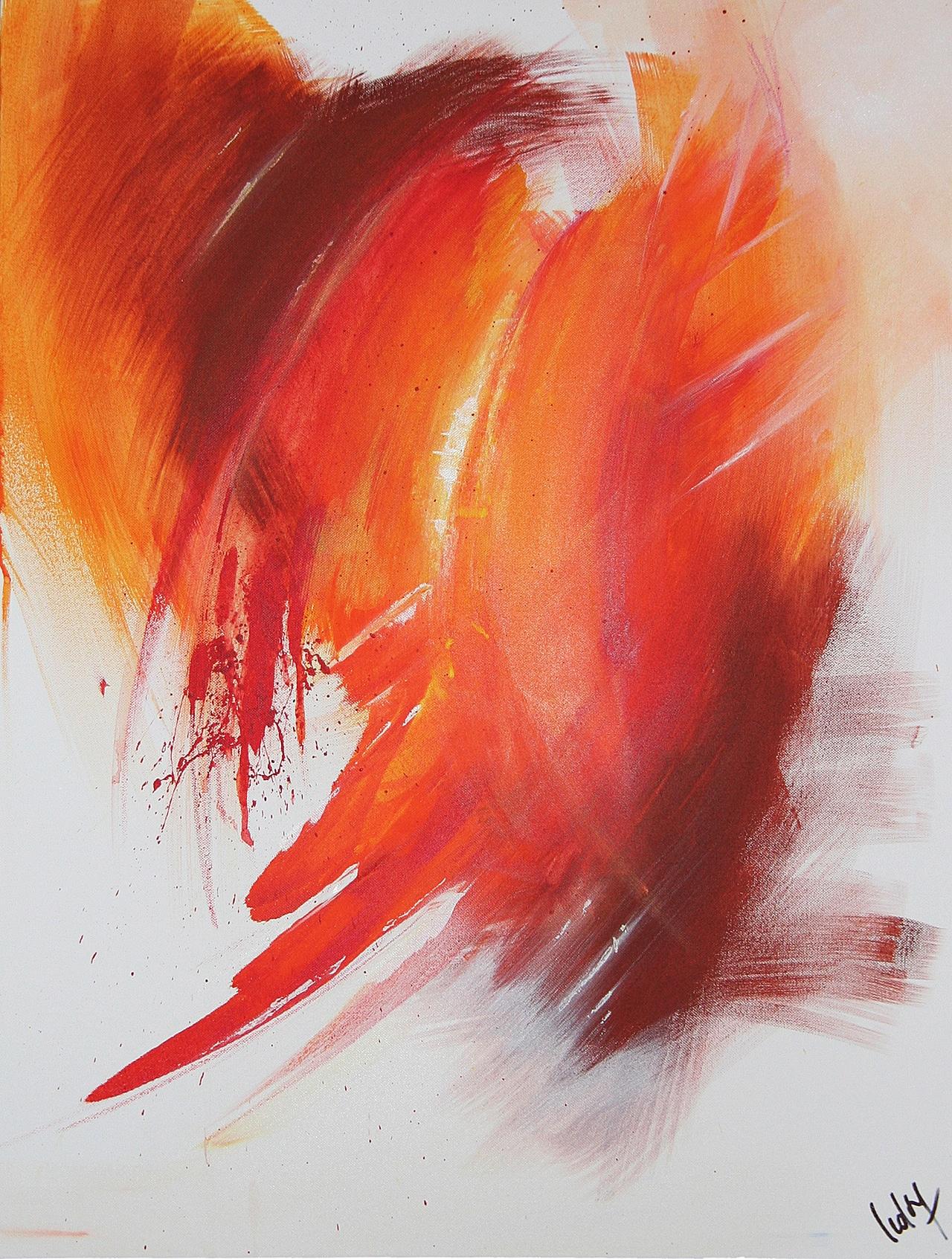 Tableau abstrait Re-Naissance du peintre expressionniste abstrait LEDOG - Naissance, Karma et renaissance - Tous droits réservés